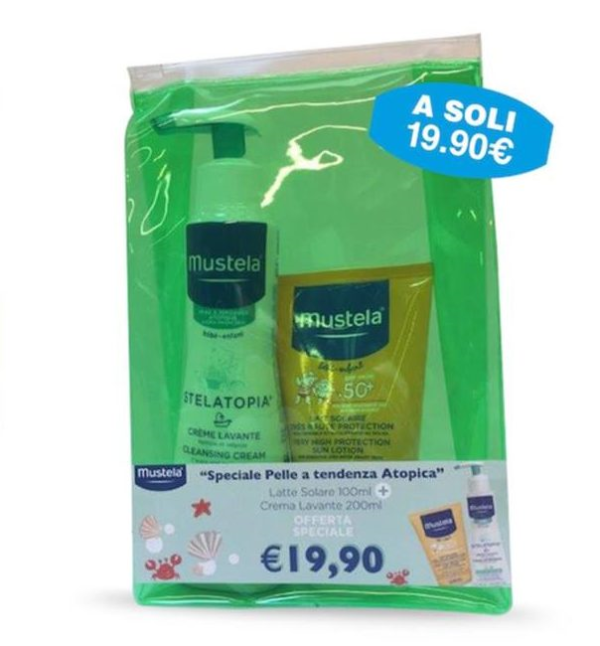 Mustela Kit Speciale Pelle A Tendenza Atopica Latte Solare 100 ml + Stelatopia Crema Detergente 200