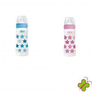 Chicco Biberon Benessere Silicone 330ml Rosa e Azzurro