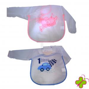Bavaglino casacca a maniche lunghe in pvc con chiusura a velcro colori rosa e azzurro