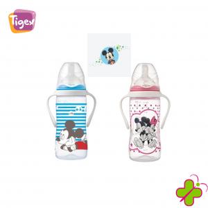 """Tigex Biberon Intuition """"Mickey e Minnie"""" con manici 300 ml bocca larga"""