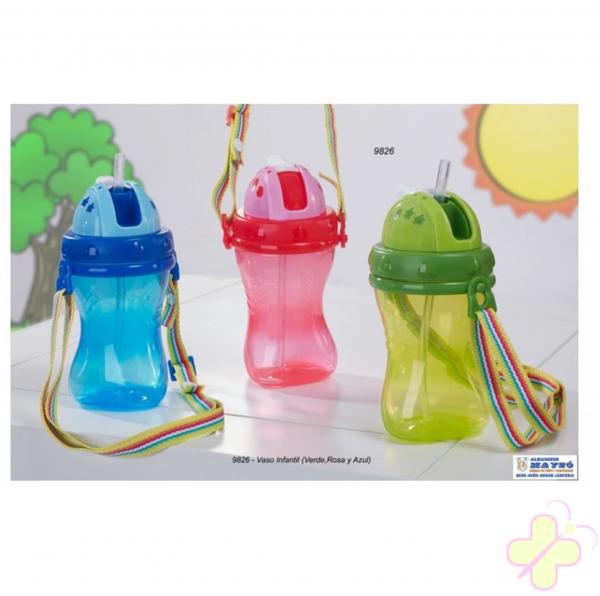 Bicchiere tazza da bambini, marchio di gamberritos con cannuccia 280ml
