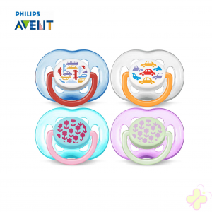 AVENT Classic Succhietti ortodontici decorati, senza BPA. Da 6 a 18 mesi.